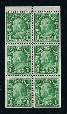 US Sc 632a 1927 Definitive Series Franklin Booklet VF Pane Postage Stamp Issue