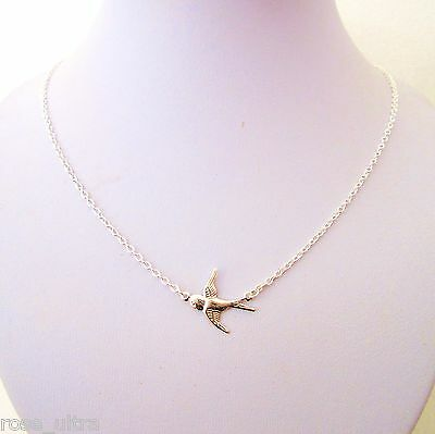 Little Silver Swallow Necklace, vintage style bird, rockabilly dainty bridesmaid