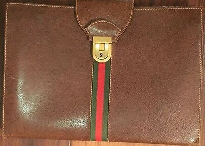 Rare Vintage Authentic Gucci Brown Leather Notepad & Pen Set W/brass Lock & Key