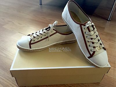 MICHAEL KORS Women Kristy White Canvas Leather Sneakers  Size 6 SOLD OUT NEW