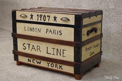 Steamer Cruise Line Voyage Trunk Blanket chest Coffee Table Folk Art Decorated