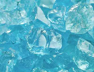 "10 Lbs Fire Glass 1/2""-3/4"" Teal Lagoon Azuria Crushed Fireglass for Fireplace"