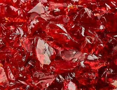"""10 Lbs of Fire Glass 3/8""""-1/2"""" Marlboro Red Crushed Fireglass for Fireplace"""