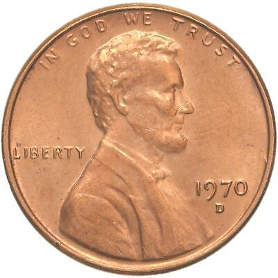 1970 D Lincoln Memorial Cent BU Penny US Coin