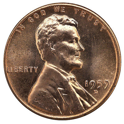 1959 D Lincoln Memorial Cent BU Penny US Coin