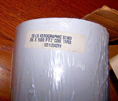 "NEW 20LB XEROGRAPHIC BOND PAPER ROLL 36"" x 500' FT PLOTTER WHITE 03511284ZNH"