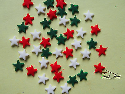 100 Edible Stars 1Cm Red White Green Cake Cupcake Toppers Christmas Decorations