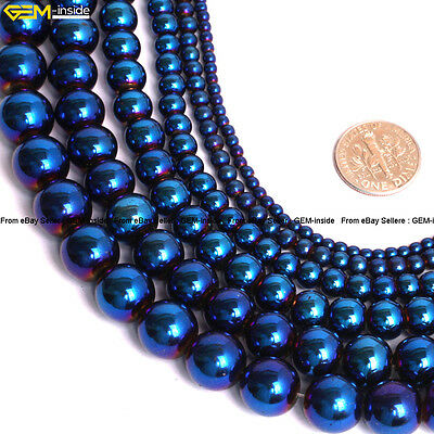 "Metallic Coated Hematite Reflections Beads Stone For Jewelry Making 15"" Various"