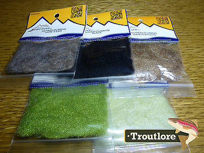 5 Pack #1 Antron Dubbing Spirit River - New Fly Tying Dub Materials