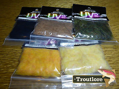 5 Pack Uv2 Fine & Dry Dubbing Spirit River - New Fly Tying Dub Materials