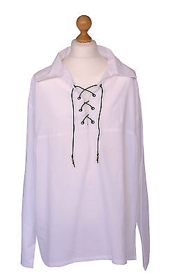 White Renaissance Pirate Medieval Cotton Shirt Size XL 48-50 Chest Laced Larp #4