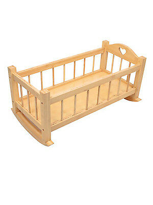Dolls Wooden Rocking Cradle Crib Cot Girls Preschool Traditional Toy Gift