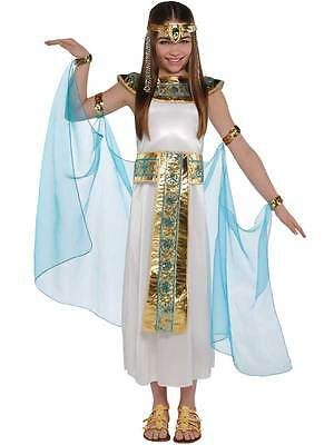 Child Cleopatra Costume Girls Egyptian Nile Toga Fancy Dress Outfit Age 8-10