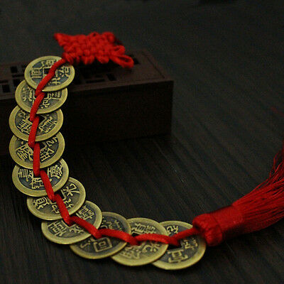 Chinese Feng Shui Protection Fortune Lucky Charm Red Tassel String Tied Coins jy