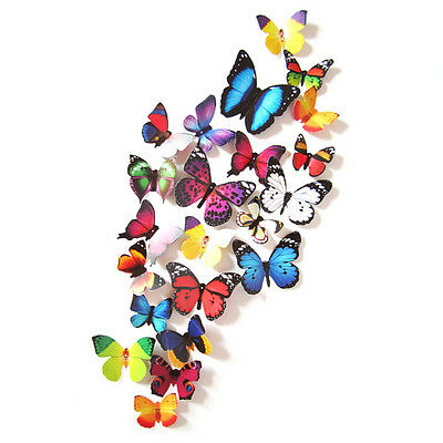 24pcs 3D Butterfly Design Decal Art Wall Stickers Room Decorations Home Decor