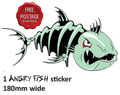 1 Right Facing Awesome Angry Fish Boat Car Sticker Decal 180Mm