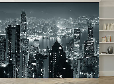 Black And White City Town  Buildings Wall Mural Photo Wallpaper GIANT WALL DECOR