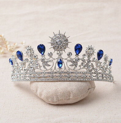 6cm High Adult Big Stars Blue Drip Crystal Leaf Tiara Crown Wedding Pageant Prom