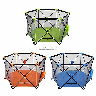 FoxHunter Portable Baby Pop Up Playpen Play Pen Yard 6 Sided With Fitted Playmat