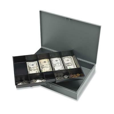 "Sparco Cash Box,w/ 2 Keys,10 Compartments,15-2/5""x10-1/2""x2-1/4,GY 15500"