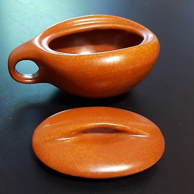 Roseville Pottery Terra Cotta / Pumpkin Raymor 157 Sugar Bowl With Lid