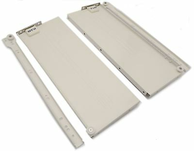 Metabox Metal Drawers Sides/Runners Slides Rollers Set - White H-150mm