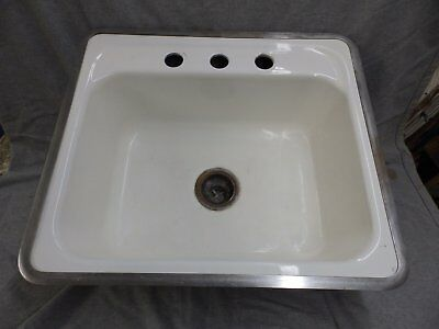 Vtg Mid Century Cast Iron White Porcelain Drop In Sink Basin Standard 1572-16