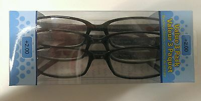 Lot Of 6 Foster Grant Hadley Black Reading Glasses +2.00 New
