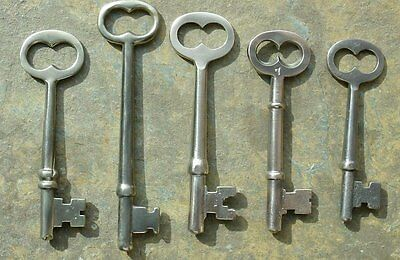 Five Antique Brass & Bronze  Mortise Lock Skeleton Keys  Antique Door Keys