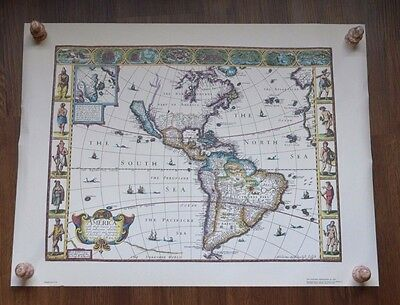 JOHN SPEED ANTIQUE MAP POSTER Western Hemisphere 1926