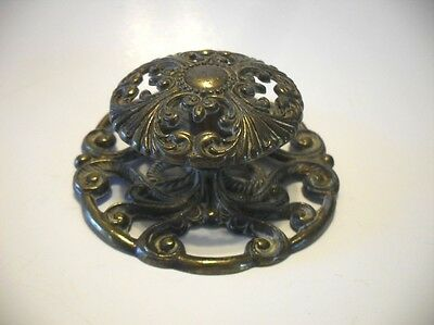 Vintage BRASS KNOB w Back Plate DRAWER Pull Victorian Handle Lacy Fancy Cut Out