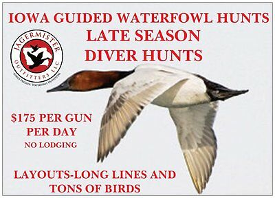 Jagermister Outfitters - Late Season Diver Hunt-2 Days-Cans-Buffs-Blue Bills