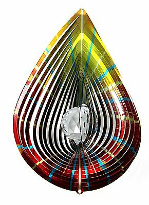 "Shipityourway 12"" 3D Wind Spinner Teardrop Crystal Gazing Ball Golden Red Yellow"