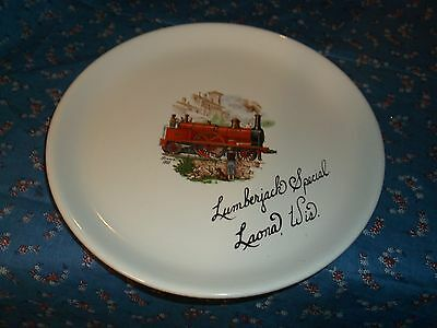 "Vintage Collector Plate Lumberjack Special Laona Wis  Train Railroad 7 3/8"" Wide"