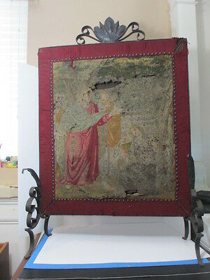Antique Victorian Fireplace Screen Wrought Iron Tapestry