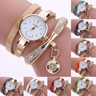 Women's Fashion Ladies Faux Leather Rhinestone Analog Quartz Wrist Watches UK