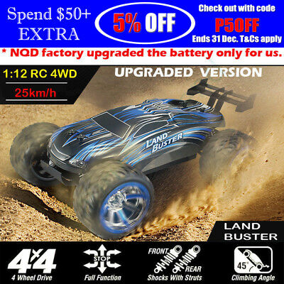 1/12th Remote Control 4WD Truggy Off Road Rechargeable RC Car Racing Land Buster