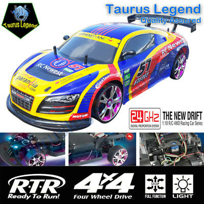 4WD RC Drift Racing Car On Road 1/10 Remote Control 2.4GHz Drifter Audi A8 LED