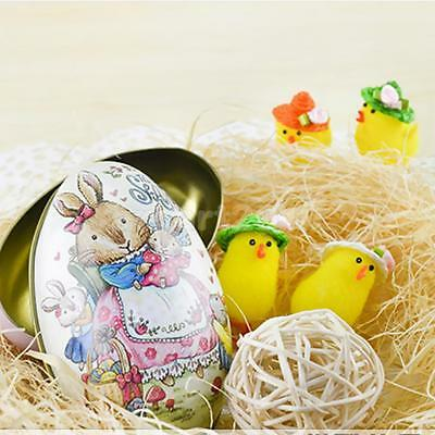 Easter Egg vintage Bunny Rabbit Tin Boxes Painted Basket Candy Accessory 10