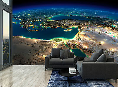 Earth Countries Lights Sea Planet Wall Mural Photo Wallpaper GIANT WALL DECOR
