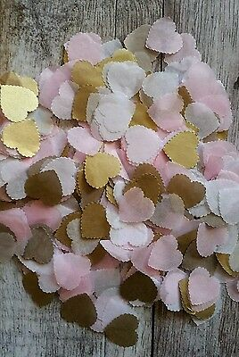 1200 Baby Pink& Gold& White Scalloped Heart Wedding Throwing Confetti/decoration