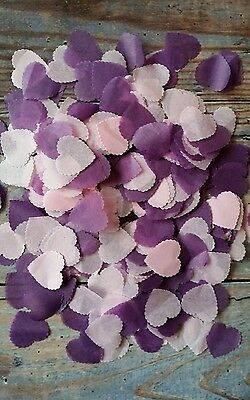 1200 Purple & Baby Pink Scalloped Heart Wedding Throwing Confetti/decoration