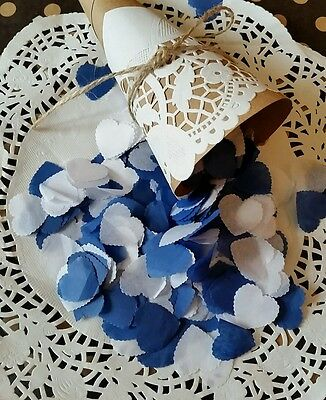 1200 Medium White & Navy Blue   Scalloped Heart Wedding Throwing Confetti.