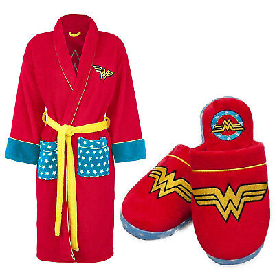 Groovy DC Comics Adults Wonder Woman Bathrobe Dressing Gown OR Mule Slippers