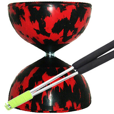 Red/ Black Mr B Harlequin Diabolo & JD Metal Sticks - Pro Rubber Diablo Set