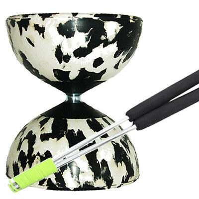Black/ White Mr B Harlequin Diabolo & JD Metal Sticks - Pro Rubber Diablo Set