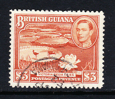 British Guiana 1938-52 $3 Red-Brown Perf 12½ Sg 319 Fine Used.