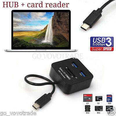 USB 3.1 Type C 2 Port USB 3.0 Hub SD TF Memory Card Reader Adapter for Macbook