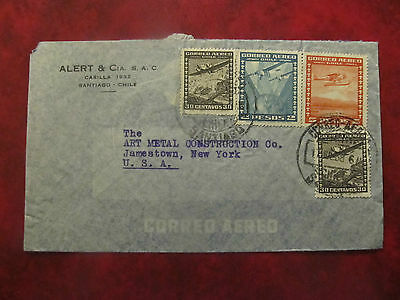 1938 - Chile - Old Cover - To New York Usa From Santiago - Me (10)