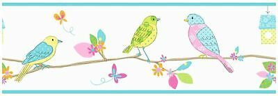 HOOPLA PRETTY BIRDS WALLPAPER BORDERS 5m BLUE & WHITE